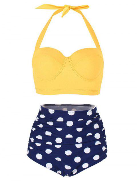 Polka Dot Ruched Halter Bikini Set - YELLOW L