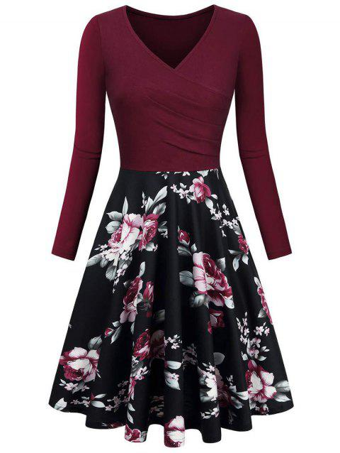 6254b101f13 17% OFF] 2019 Vintage Ruched Floral Print High Waist Dress In RED ...