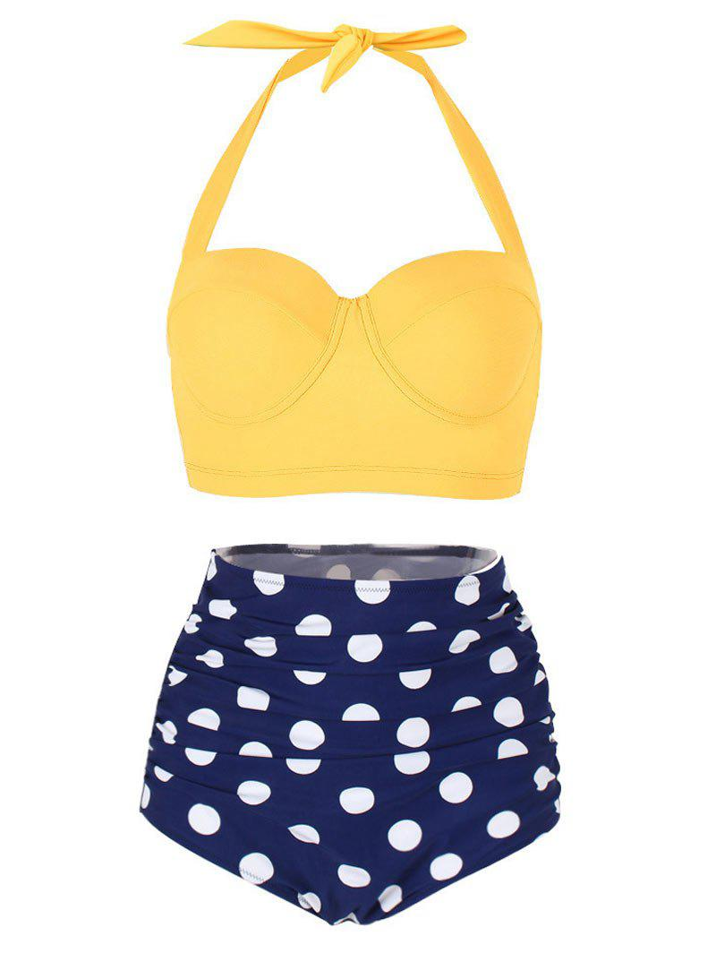 Polka Dot Ruched Halter Bikini Set - YELLOW M
