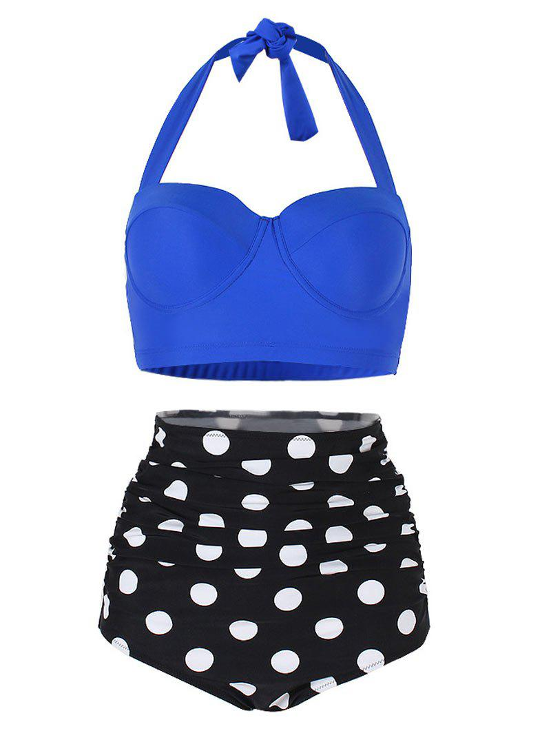 Polka Dot Ruched Halter Bikini Set - COBALT BLUE L