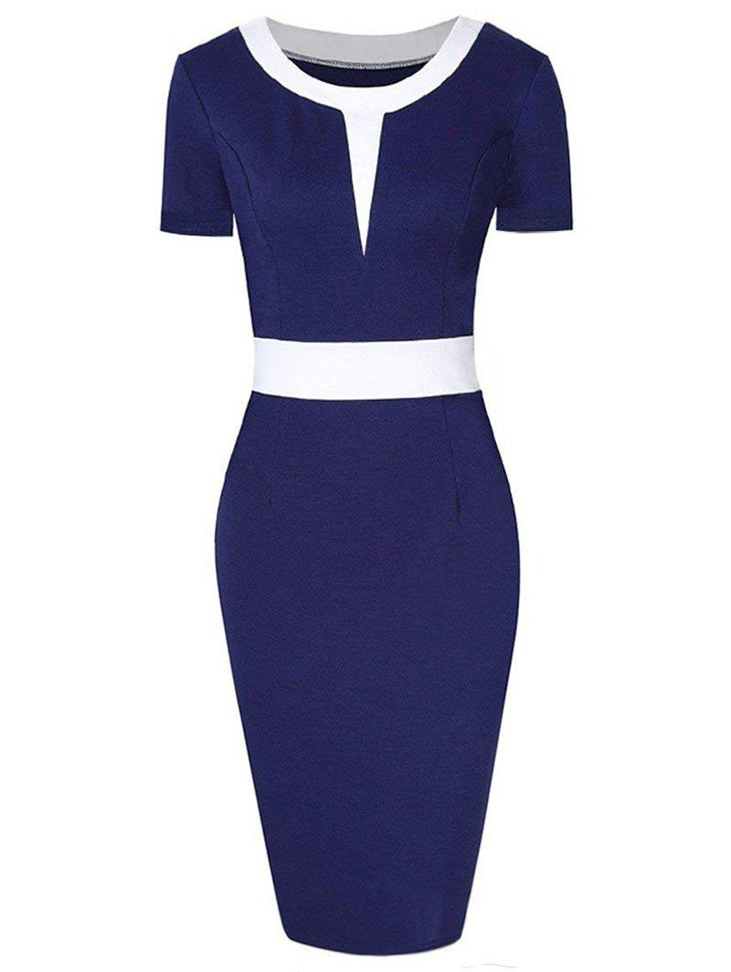 Color Block Round Neck Knee Length Dress - CADETBLUE L