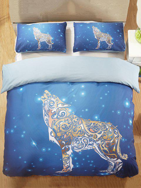 Sky Wolf Print 3PCS Bedding Set - BLUE KING SIZE