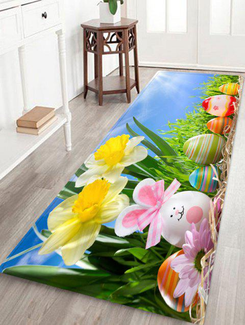 Flower Sky Easter Egg Pattern Rug - SKY BLUE W16 X L47 INCH