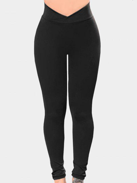 Elastic Crossover Waistband Leggings - BLACK XL