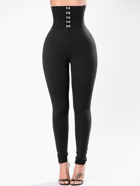 Hook and Eye High Waisted Leggings - BLACK M