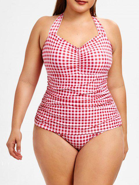 f5bbb44a4abe 44% OFF] 2019 Plus Size Halter Ruched Gingham Swimsuit In Multicolor ...