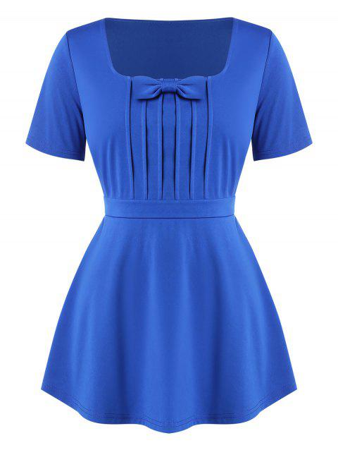 Square Collar Bowknot Pleated Plus Size Top - BLUE 5X