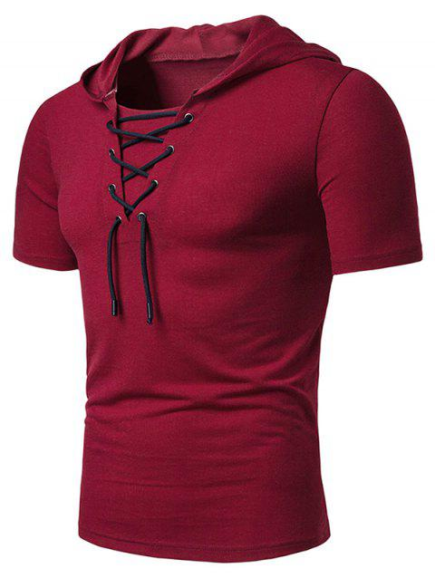 Lace Up Hooded Short Sleeve T Shirt - RED WINE L