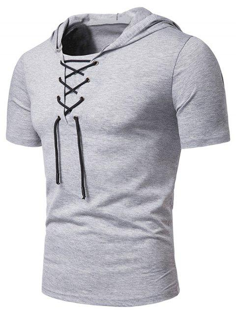 Lace Up Hooded Short Sleeve T Shirt - LIGHT GRAY L