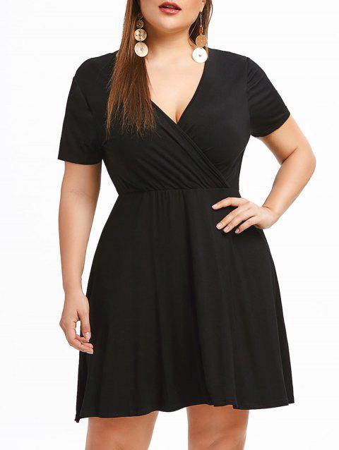 Plus Size Surplice Neck A Line Dress - BLACK L