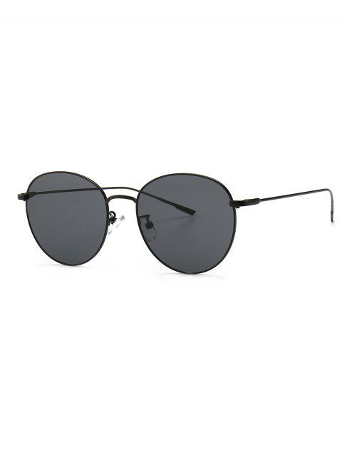 Round Metal Frame Gradient Sunglasses - BLACK