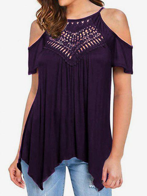 Cold Shoulder Hollow Out Tee - PURPLE IRIS L