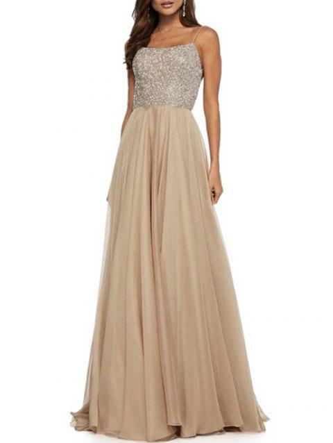 Backless Sequined Cross Long Prom Dress - GOLD M