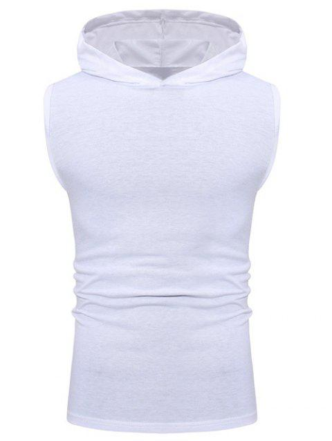 Solid Color Casual Hooded Tank Top - WHITE M