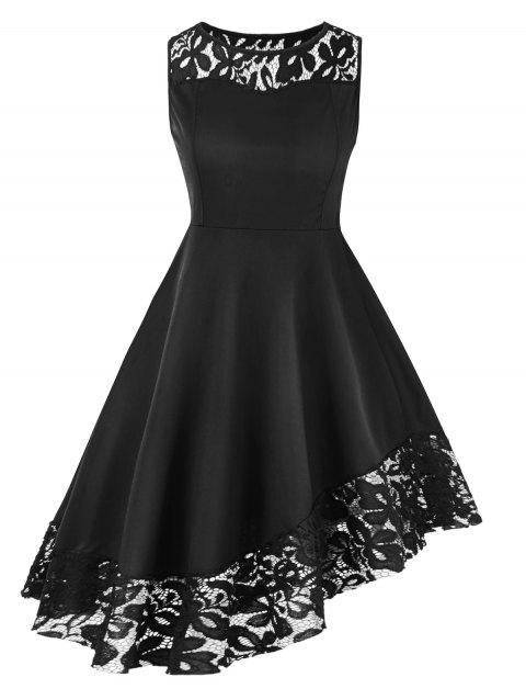 Plus Size Lace Hem Sleeveless A Line Dress - BLACK 2X