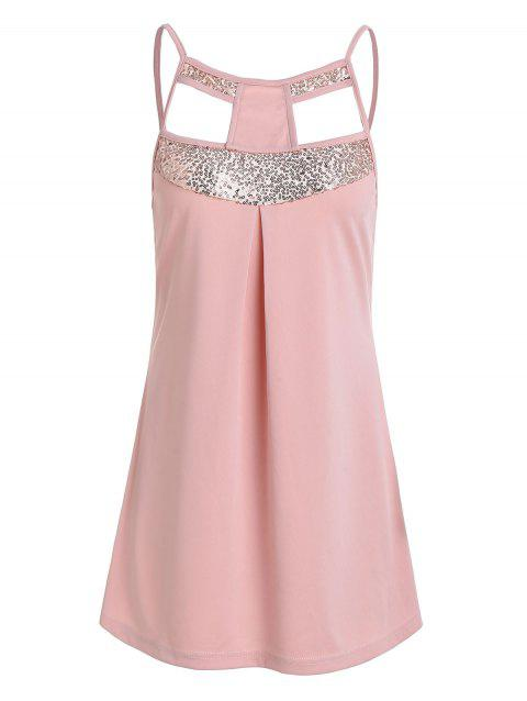 Cut Out Sequined Tunic Cami Top - LIGHT PINK L