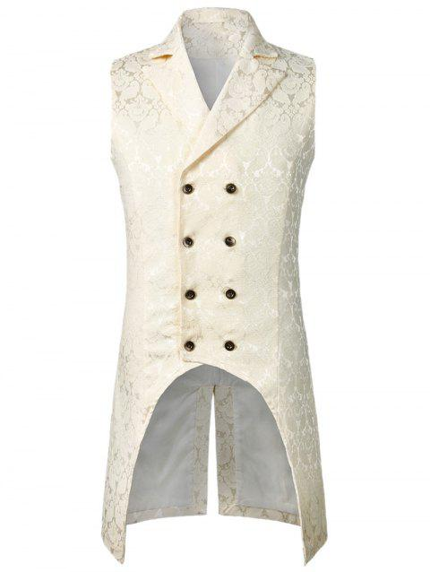 Double Button Decoration Printed Waistcoat - WHITE M