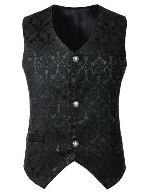 Floral Design Button Waistcoat - BLACK 2XL