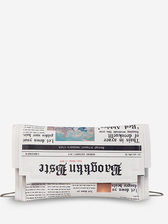 Newspaper Pattern Small Shoulder Bag - WHITE