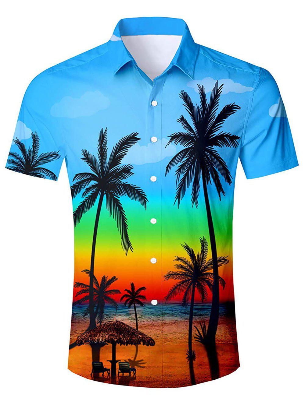 Hawaii Style Casual Short Sleeves Shirt - LIGHT BLUE L
