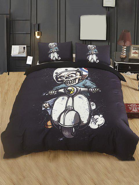 Skeleton Motorcyclist Print 3PCS Bedding Set - BLACK KING SIZE