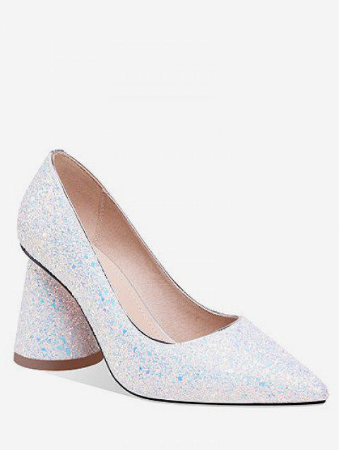 Sequins Decoration Chunky Heel Pumps - WHITE EU 37
