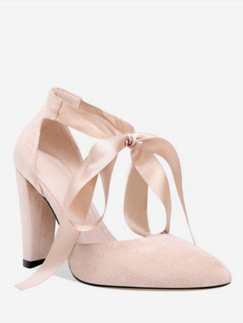 Lace-up Design Chunky Heel Pumps - APRICOT EU 38