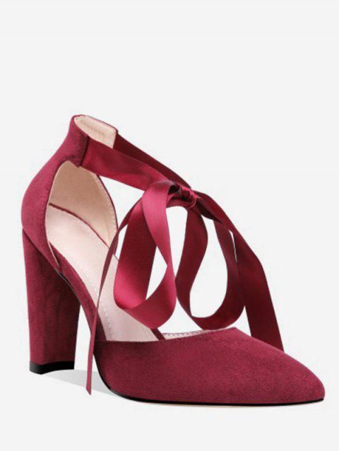 Lace-up Design Chunky Heel Pumps - RED WINE EU 39