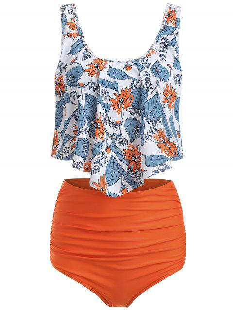 Tankini à superposition à imprimé floral - Orange Citrouille 2XL