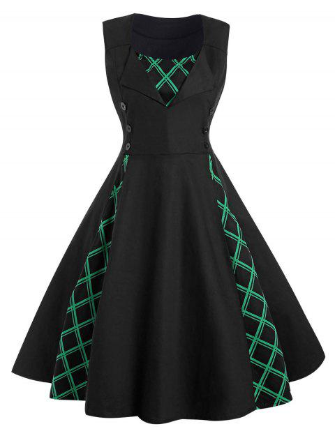 Plus Size Button Embellished Printed A Line Dress - BLACK 1X