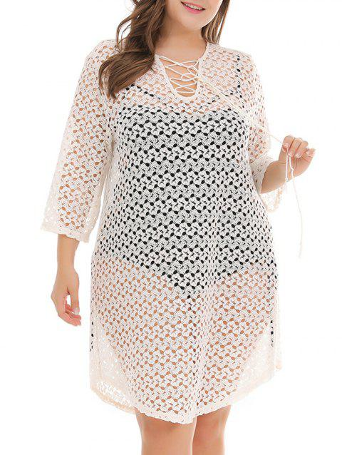 Plus Size Cover Up Crochet Dress - WHITE 3X