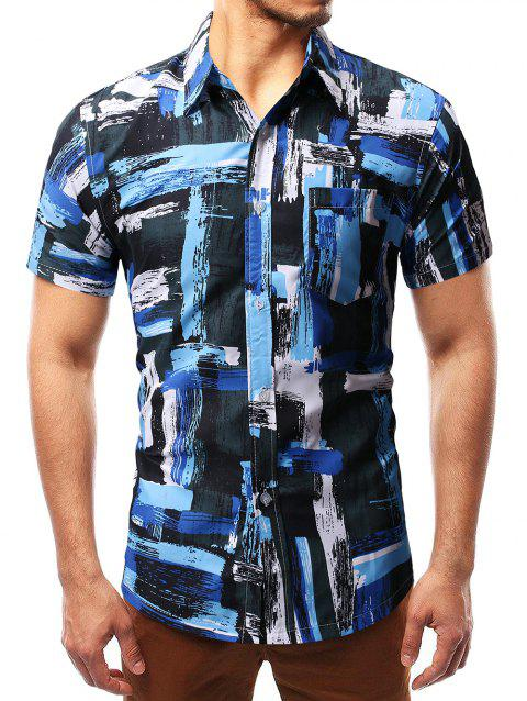 Irregular Oil Painting Print Short Sleeve Shirt - SKY BLUE M