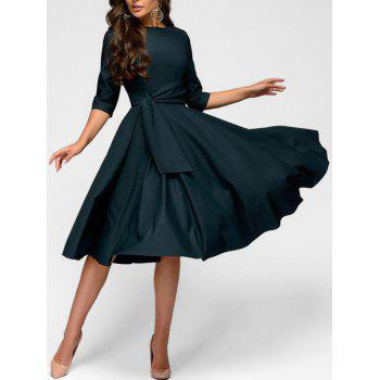 """<P>A Line Waisted Knee Length Dress</P><I Class=""""Icon Down Js Tap Up Down""""></I> by Dress Lily"""