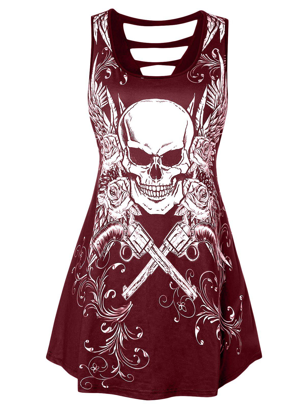 Plus Size Skull Print Cut Out Tank Top - RED WINE 4X