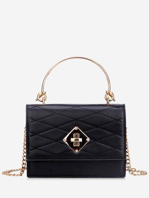 Metal Handle Quilted Tote Bag - BLACK
