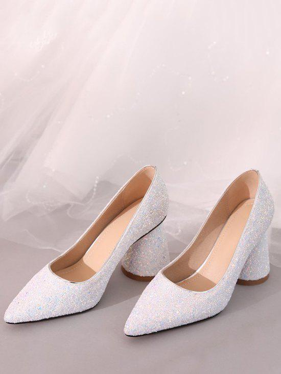 Sequins Decoration Chunky Heel Pumps - WHITE EU 36