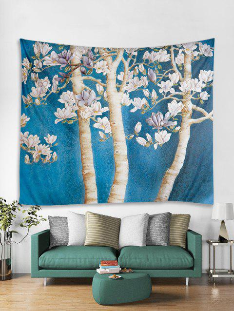 a90b88c7b2 Flower Tree Print Tapestry Wall Hanging Art Decoration - BLUE IVY W59 X L51  INCH