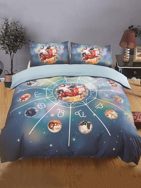 Sagittarius Print 3PCS Bedding Set - multicolor A QUEEN SIZE