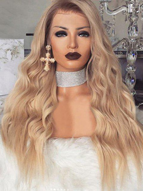 Long Wavy Synthetic Center Part Wig with Front Lace - CHAMPAGNE GOLD