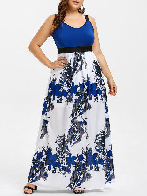 17% OFF] 2019 Empire Waist Floral Print Plus Size Maxi Dress In BLUE ...