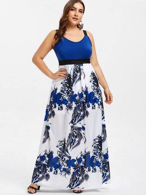 c8dfdc9501 17% OFF] 2019 Empire Waist Floral Print Plus Size Maxi Dress In BLUE ...
