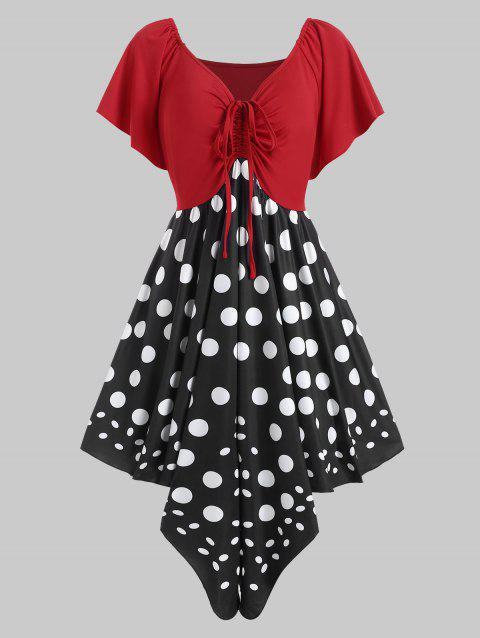 Plus Size Ruched Polka Dot Handkerchief Dress - RED 3X