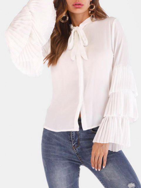 Bow Tie Neck Flare Sleeve Shirt - MILK WHITE S