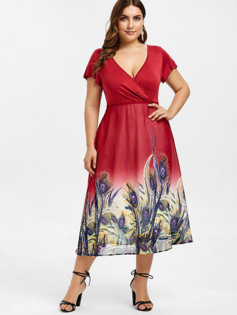 17% OFF] 2019 Panel Feather Print Plus Size Dress In RED WINE ...
