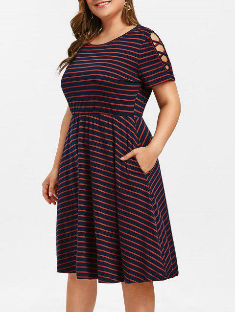 Plus Size Criss Cross Sleeve Striped A Line Dress - RED 1X