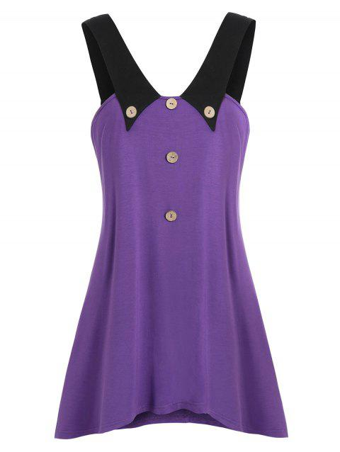 Plus Size Contrast Flare Button Tank Top - LOVELY PURPLE 5X