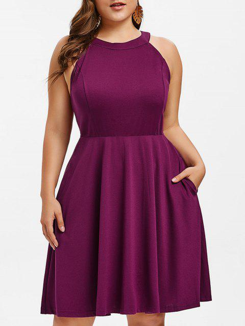 Plus Size Round Neck Fit and Flare Dress - PURPLE 4X