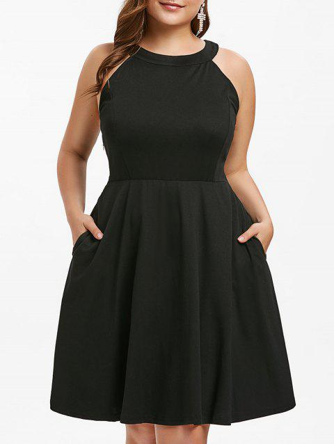Plus Size Round Neck Fit and Flare Dress - BLACK L