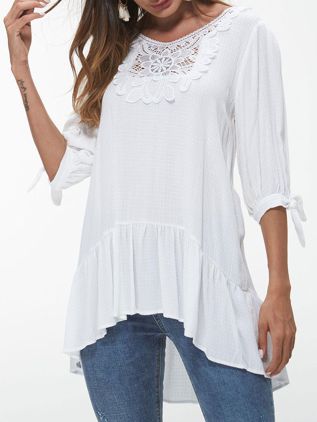 Knotted Sleeve Lace Insert Blouse - WHITE XL