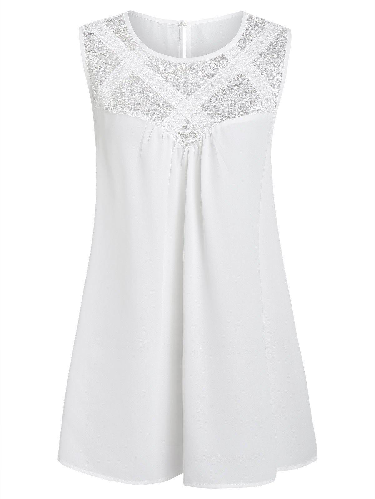 Plus Size Lace Insert Sheer Solid Tank Top - WHITE L